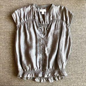 LOFT Grey Buttoned Blouse
